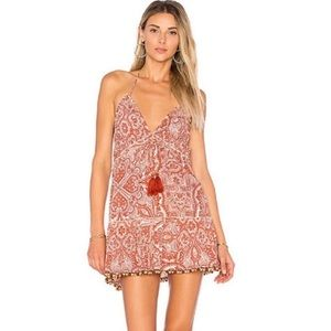 Tularosa orange paisley floral halter dress